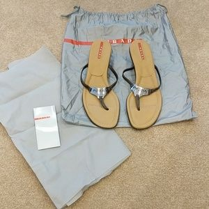 Brand new Prada flip flop sandals with small heel